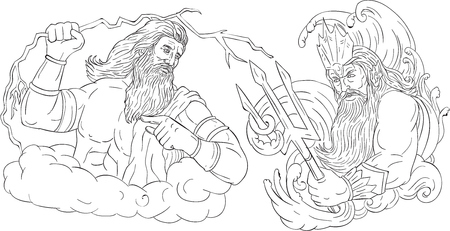 Drawing sketch style illustration of Zeus, Greek god of the sky and ruler of the Olympian gods wielding holding a thunderbolt lightning versus poseidon holding trident surrounded by waves viewed from the side set on isolated white background done in black