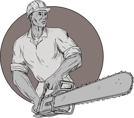 Drawing sketch style illustration of lumberjack arborist tree surgeon wearing helmet holding operating a chainsaw viewed from front set inside circle on isolated background.