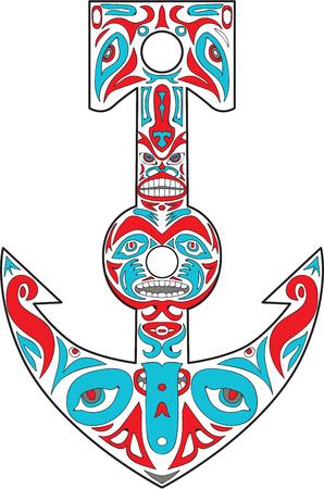 Northwest Coast art style illustration of a boat anchor totem pole set on isolated white background. Illustration