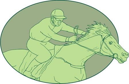 孤立した背景に楕円形の内部設定側から見た乗馬、競馬の騎手のスケッチ スタイルのイラストを描きます。