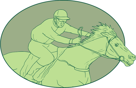 Drawing sketch style illustration of jockey riding a horse racing viewed from the side set inside oval shape on isolated background. Illustration