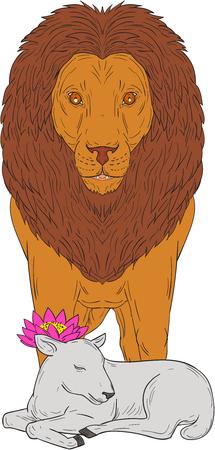 dibujo de la ilustración del estilo del bosquejo de un león que se coloca sobre el cordero con la flor del loto en su cabeza visto desde delante fijó en el fondo blanco aislado .