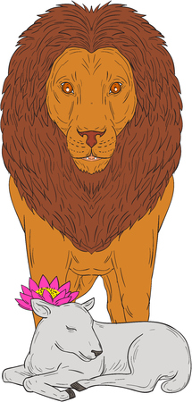 Drawing sketch style illustration of a lion standing over lamb with lotus flower on its head viewed from front set on isolated white background. Ilustração