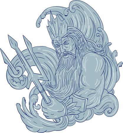 Zeichnungsskizzen-Artillustration eines Poseidongottes des Meeres, das den Dreizack umgeben durch die Wellen angesehen von der Seite hält, stellte auf lokalisierten weißen Hintergrund ein. Standard-Bild - 77072434
