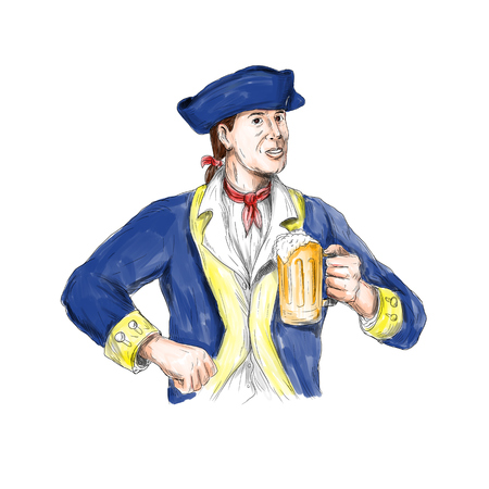 Watercolor style illustration of an american patriot holding beer mug toasting viewed from front set on isolated white background. Stock Photo