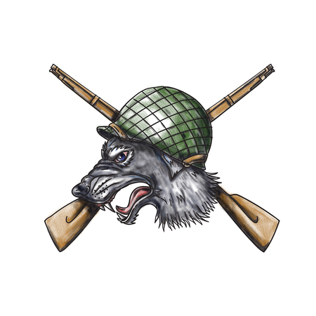 Tattoo style illustration of a grey wolf head wearing world war two helmet with crossed rifles in the background viewed from the side.  Stock Photo