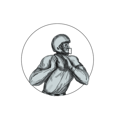 Tattoo style illustration of an american football gridiron quarterback qb player throwing football viewed from the side set inside circle on isolated background. Stock Photo