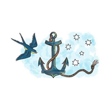 Tattoo stijl illustratie van een anker, een apparaat, gemaakt van metaal, gebruikt om een vaartuig te verbinden met de zeebodem om te voorkomen dat het vaartuig drifting, met opgerolde touw en zwaluw vogel en zuidelijke sterrenbeeld op de achtergrond. Stockfoto
