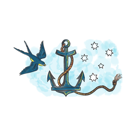 coiled: Tattoo style illustration of an anchor, a device, made of metal, used to connect a vessel to sea bed to prevent the craft from drifting, with coiled rope and swallow bird and southern star constellation in background.  Stock Photo