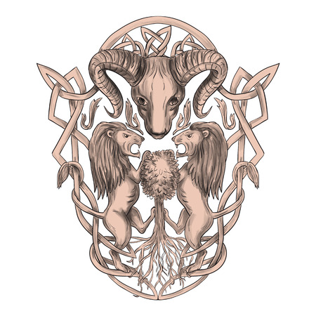Tattoo style illustration of stylized bighorn sheep head with two lion supporters climbing on tree with Celtic knot, called Icovellavna, plait work or knotwork woven into unbroken cord design set on isolated white background.