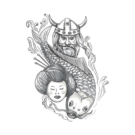 Tattoo style illustration of a head of a norseman viking warrior raider barbarian wearing horned helmet with beard, koi carp fish diving and geisha girl viewed from front set on isolated white background.