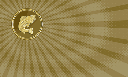 Business card showing Illustration of a barramundi or Asian sea bass (Lates calcarifer) jumping viewed from the side set inside gold brass coin medallion done in retro style.     Stock Photo