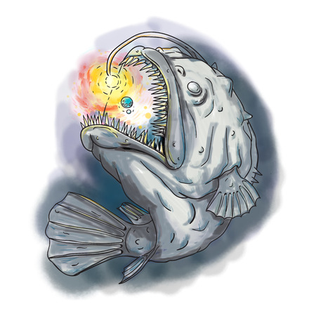 Watercolor style illustration of an Anglerfish of teleost order Lophiiformes that are bony fish named for their characteristic mode of predation, which a fleshy growth from fishs head (the esca or illicium) acts as a lure, swooping up a solar system view