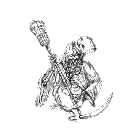 Tattoo stijl illustratie van de grim reaper lacrosse speler met een crosse of lacrosse stick verdediging paal gezien van voorzijde op geïsoleerde achtergrond.