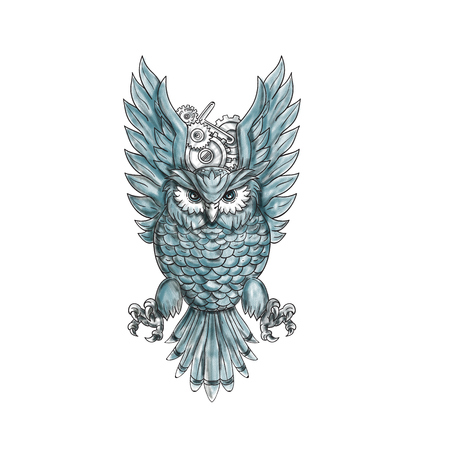 Tattoo style illustration of an owl swooping with clock gears behind its wings viewed from the front set on isolated white background.