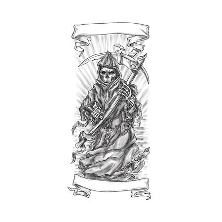 De illustratie van de tatoegeringsstijl van de onverbiddelijke die zeis van de maaimachinebank van voorzijde met rollint wordt bekeken op geïsoleerde witte achtergrond wordt geplaatst.