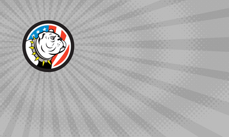 Business card showing Illustration of a bulldog head looking to the side set inside circle with usa american stars and stripes flag in the background done in cartoon style.     Фото со стока