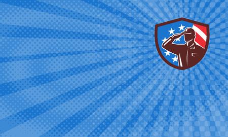 アメリカ国旗星条旗レトロなスタイルでバック グラウンドでのシールド クレスト内名刺でアメリカ兵の軍人シルエット敬礼のイラストに設定。