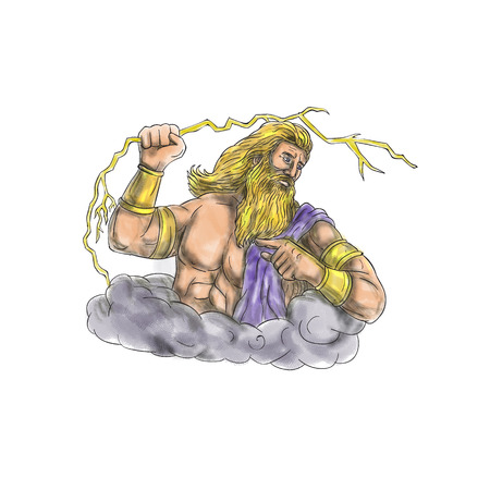 Tattoo style illustration of Zeus, Greek god of the sky and ruler of the Olympian gods wielding holding a thunderbolt looking to the side  set on isolated white background.