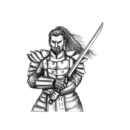 격리 된 흰색 배경에 설정 프런트에서 볼 칼 싸움 자세에서 katana 칼을 들고 사무라이 전사의 문신 스타일 그림.