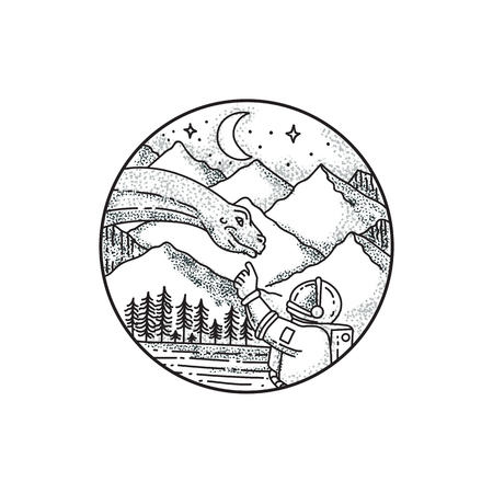 Tattoo style illustration of an astronaut pointing to a brontosaurus with mountain, moon and stars in the background set inside circle. Imagens