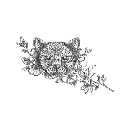 Tattoo style illustration of a cat head with jasmine flowers viewed from front set on isolated white background.