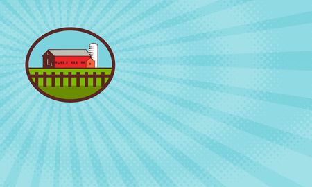 Business card showing Illustration of a farm house barn and silo with fence set inside oval shape done in retro style.