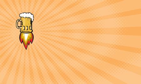 ビジネス カードは、レトロなスタイルでオフにブラスト ロケット バーナーとビール ジョッキの図を示します。
