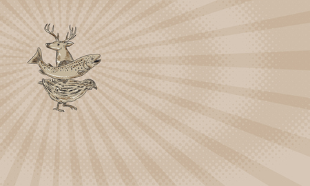 名刺鹿、マスとウズラの側から見た図面スケッチ スタイルの図を示します。 写真素材