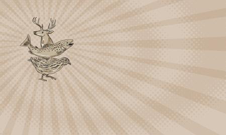 Adreskaartje die de stijlillustratie van de Tekeningsschets van een hert, een forel en een kwartel tonen die van de kant wordt bekeken.