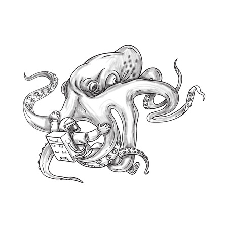 Tattoo style illustration of a giant octopus fighting an astronaut holding astronaut with its tentacles set on isolated white background. Stock Photo