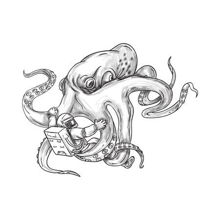 Tattoo stijl illustratie van een reusachtige octopus vechten een astronaut bedrijf astronaut met zijn tentakels ingesteld op geïsoleerde witte achtergrond.
