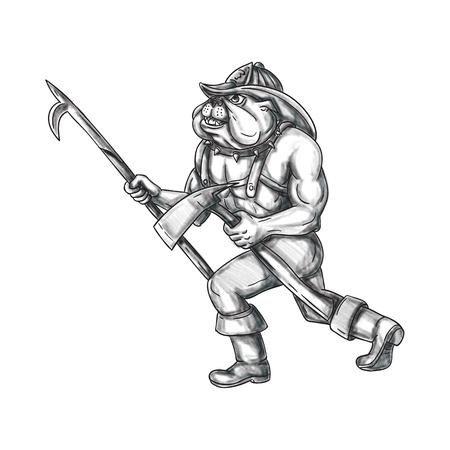 Tätowieren Sie Artillustration eines Bulldoggenfeuerwehrmanns, der das Spießpfosten- und Feueraxtgehen hält, das von der Seite angesehen wird, die auf lokalisierten weißen Hintergrund eingestellt wird. Standard-Bild - 77627786