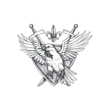 fleur of lis: Tattoo style illustration of a dove with olive leaf in its beak set inside shield crest with sword and fleur de lis in the background. Stock Photo