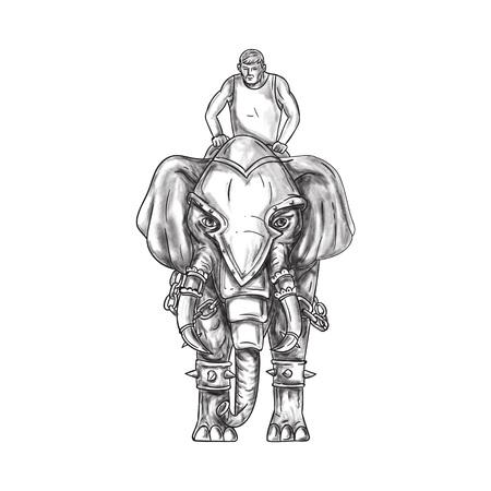 흰색 배경에 설정 전면에서 볼 mahout 라이더 승마와 전쟁 코끼리의 문신 스타일 그림.