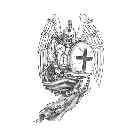 rosary: Tattoo style illustration of a wounded spartan warrior angel wearing helmet holding sword and shield draped with rosary viewed from front set on isolated white background.