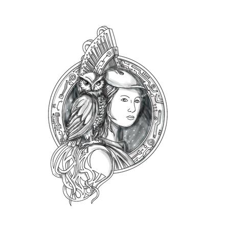 Ilustración del estilo del tatuaje de Athena o de Athene, la diosa de la sabiduría, del arte, y de la guerra en griego antiguo religión y mitología con el búho encaramado en el hombro fijó el círculo interior con la tarjeta de circuitos electrónicos fijada en fondo blanco aislado. Foto de archivo