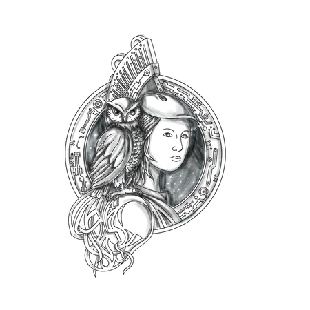 Tattoo style illustration of Athena or Athene, the goddess of wisdom, craft, and war in ancient Greek religion and mythology with owl perched on shoulder set inside circle with electronic circuit board set on isolated white background.