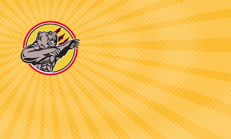 Visitenkarte zeigt Illustration eines wütenden Kalifornien Grizzly Nordamerikanischen Braunbär Swiping seine Pfote Angriff getan im Retro-Stil im Inneren Kreis gesetzt. Standard-Bild - 77505833