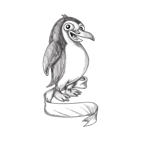 Tattoo style illustration of a Penguin an aquatic, flightless bird viewed from the side set on isolated white background with ribbon scroll. Stock Photo