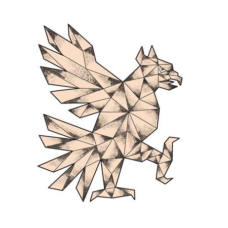 分離の背景を白に設定側から見た戦う姿勢でワシを示す Cuauhtli のアステカの文化から glifo のタトゥー スタイル イラスト。 写真素材 - 77627793
