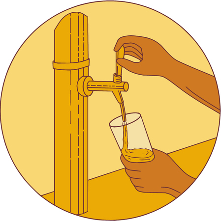 Drawing sketch style illustration of a hand holding glass pouring beer from tap set inside circle viewed from front.