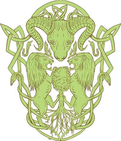 양식에 일치시키는 큰 뿔 머리의 그림 셀 틱 매듭, 함께 나무에 등반 두 사자 지지자 Icovellavna, 엮여 작업 또는 격리 된 흰색 배경에 설정 중단되지 않은 일러스트