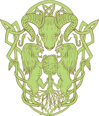 Illustration of stylized bighorn sheep head with two lion supporters climbing on tree with Celtic knot, called Icovellavna, plait work or knotwork woven into unbroken cord design set on isolated white background. Illustration
