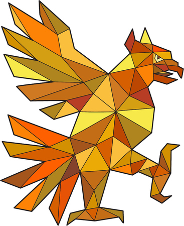 Low polygon style illustration of a glifo from the aztecas culture of a Cuauhtli showing an eagle in a fighting stance viewed from the side set on isolated white background.