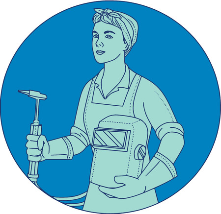 Mono line style illustration of a female welder holding acetylene welding torch and visor viewed from front set inside circle.
