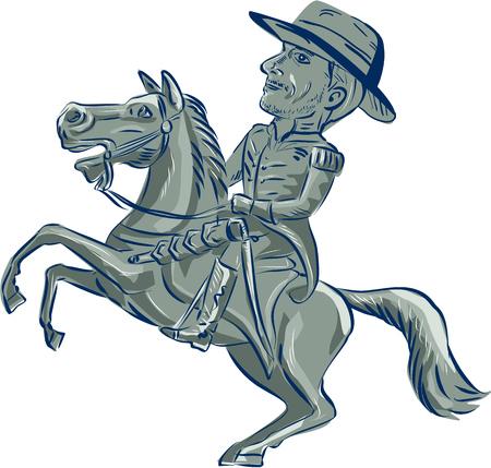 跳ねアメリカ騎兵将校乗馬馬のイラストは、漫画のスタイルで行われる分離の白い背景の設定側から見た。