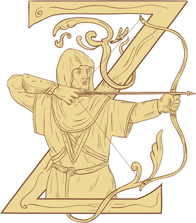Drawing sketch style illustration of a medieval archer with bow and arrow aiming with the letter Z in the background.