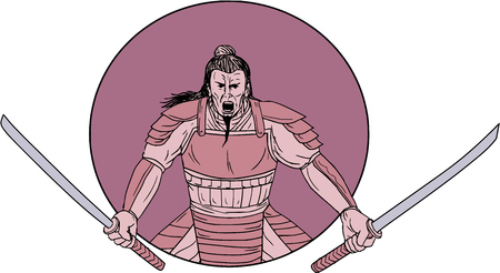 Drawing sketch style illustration of a raging Samurai warrior holding two swords viewed from front set inside oval on isolated backdrop.