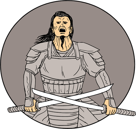 Drawing sketch style illustration of an angry Samurai warrior looking up holding  swords in a cross position viewed from front set inside oval on isolated background. Illustration
